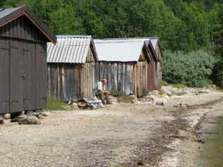 Old boathouses at the shore