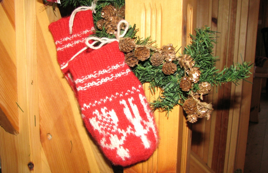 Old stocking gifts as decorations